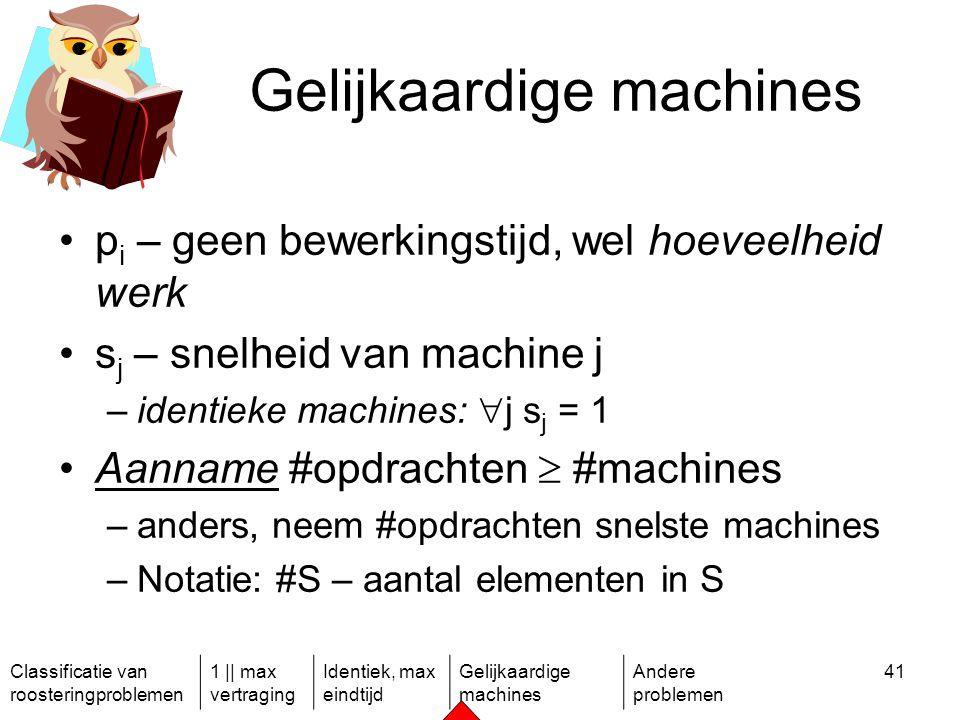 Classificatie van roosteringproblemen 1 || max vertraging Identiek, max eindtijd Gelijkaardige machines Andere problemen 41 Gelijkaardige machines p i – geen bewerkingstijd, wel hoeveelheid werk s j – snelheid van machine j –identieke machines:  j s j = 1 Aanname #opdrachten  #machines –anders, neem #opdrachten snelste machines –Notatie: #S – aantal elementen in S