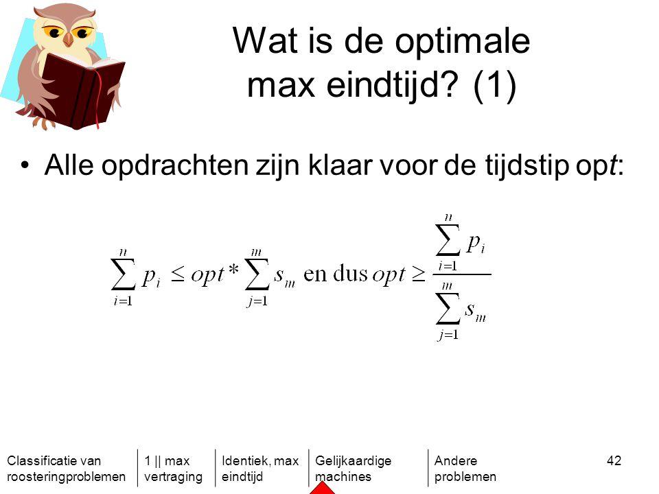 Classificatie van roosteringproblemen 1 || max vertraging Identiek, max eindtijd Gelijkaardige machines Andere problemen 42 Wat is de optimale max eindtijd.