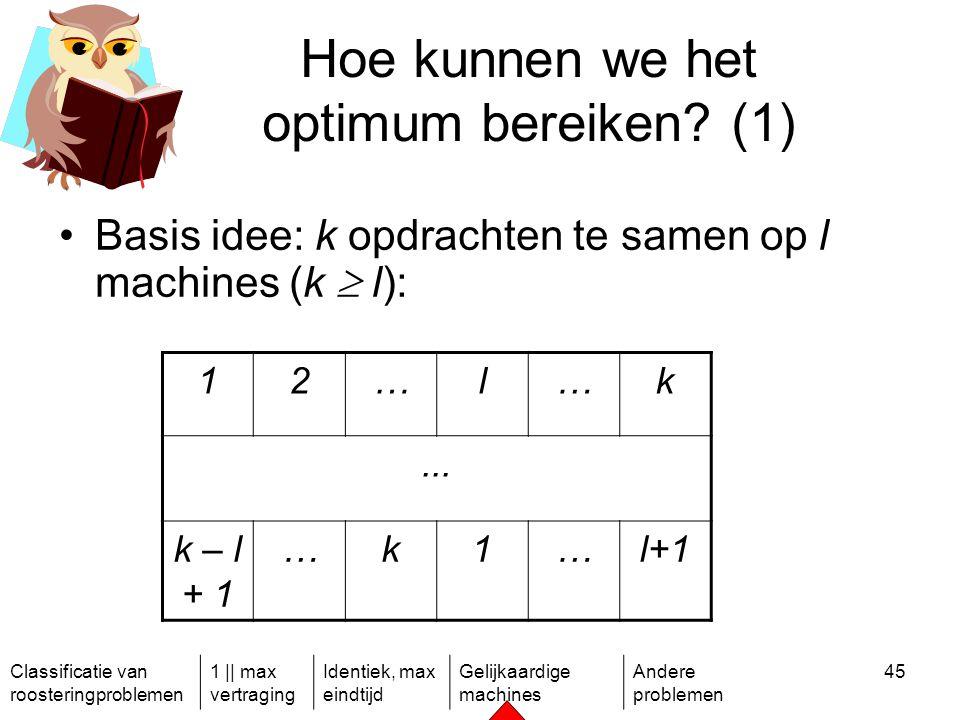 Classificatie van roosteringproblemen 1 || max vertraging Identiek, max eindtijd Gelijkaardige machines Andere problemen 45 Hoe kunnen we het optimum bereiken.