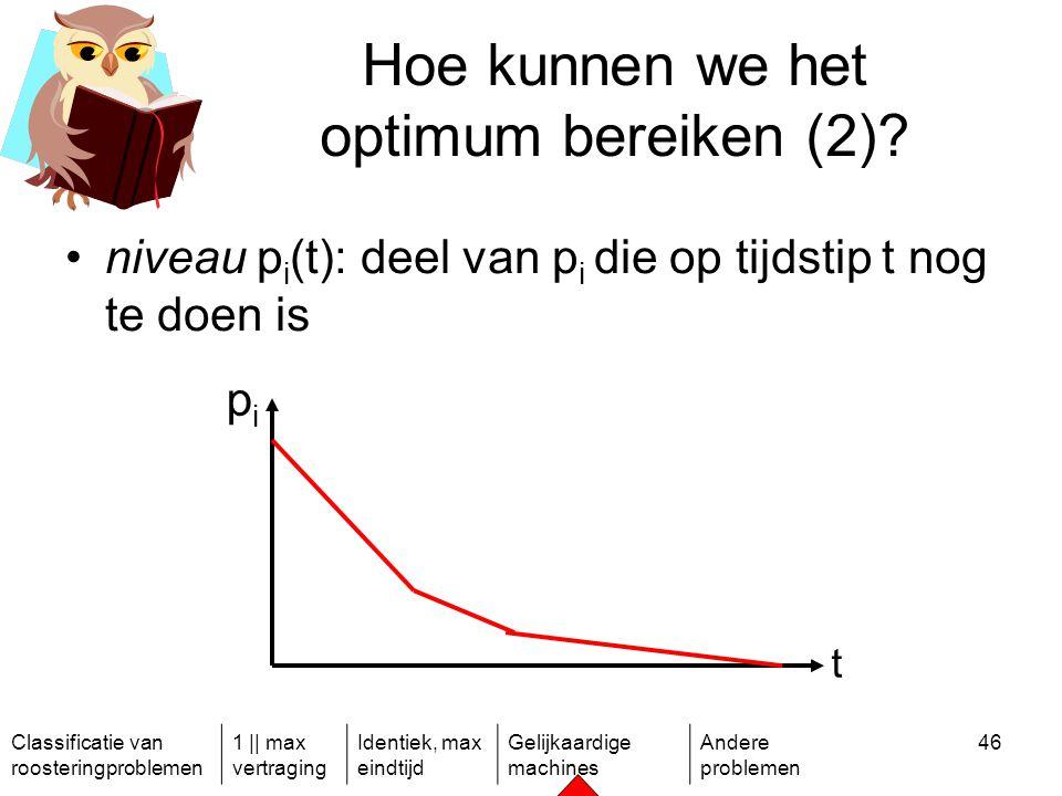 Classificatie van roosteringproblemen 1 || max vertraging Identiek, max eindtijd Gelijkaardige machines Andere problemen 46 Hoe kunnen we het optimum bereiken (2).