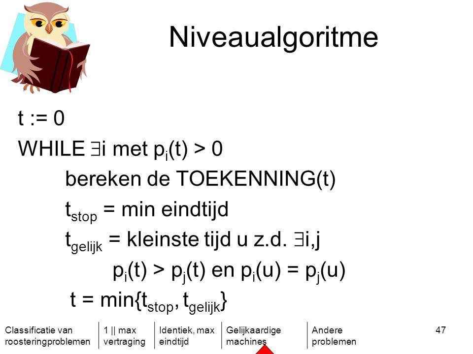 Classificatie van roosteringproblemen 1 || max vertraging Identiek, max eindtijd Gelijkaardige machines Andere problemen 47 Niveaualgoritme t := 0 WHILE  i met p i (t) > 0 bereken de TOEKENNING(t) t stop = min eindtijd t gelijk = kleinste tijd u z.d.