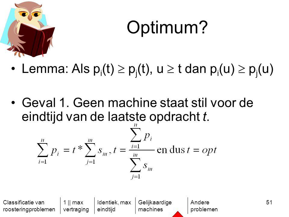 Classificatie van roosteringproblemen 1 || max vertraging Identiek, max eindtijd Gelijkaardige machines Andere problemen 51 Optimum.