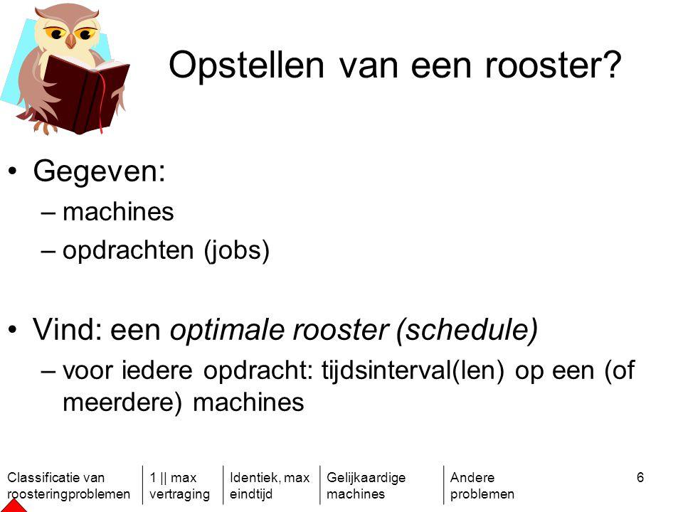 Classificatie van roosteringproblemen 1 || max vertraging Identiek, max eindtijd Gelijkaardige machines Andere problemen 6 Opstellen van een rooster.