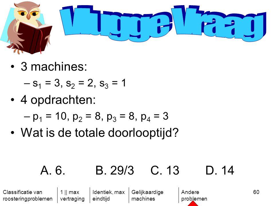 Classificatie van roosteringproblemen 1 || max vertraging Identiek, max eindtijd Gelijkaardige machines Andere problemen 60 3 machines: –s 1 = 3, s 2 = 2, s 3 = 1 4 opdrachten: –p 1 = 10, p 2 = 8, p 3 = 8, p 4 = 3 Wat is de totale doorlooptijd.
