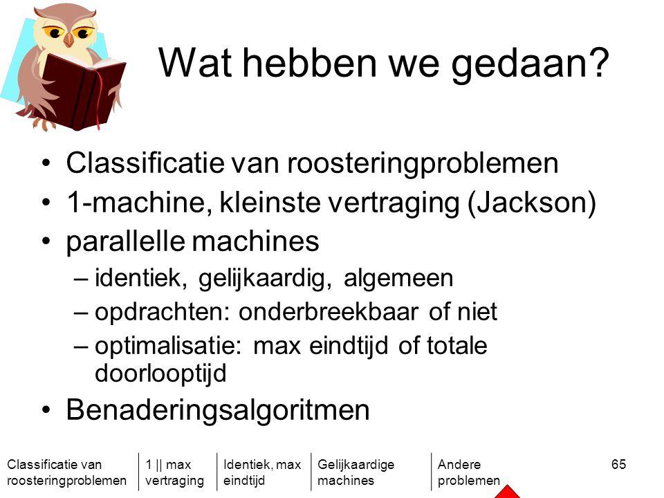 Classificatie van roosteringproblemen 1 || max vertraging Identiek, max eindtijd Gelijkaardige machines Andere problemen 65 Wat hebben we gedaan.