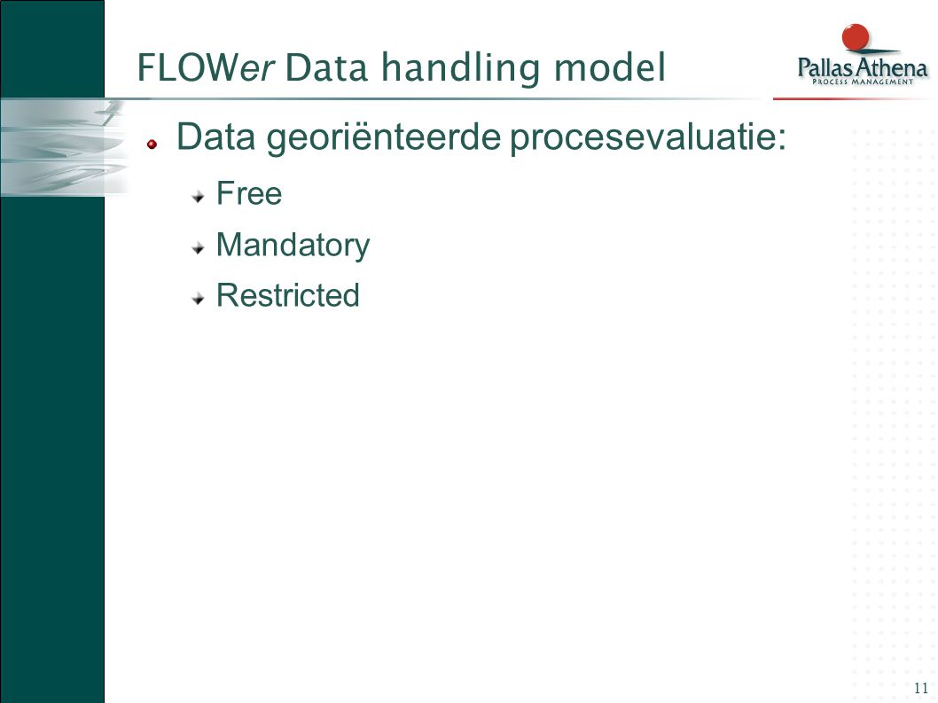 11 FLOW er Data handling model Data georiënteerde procesevaluatie: Free Mandatory Restricted