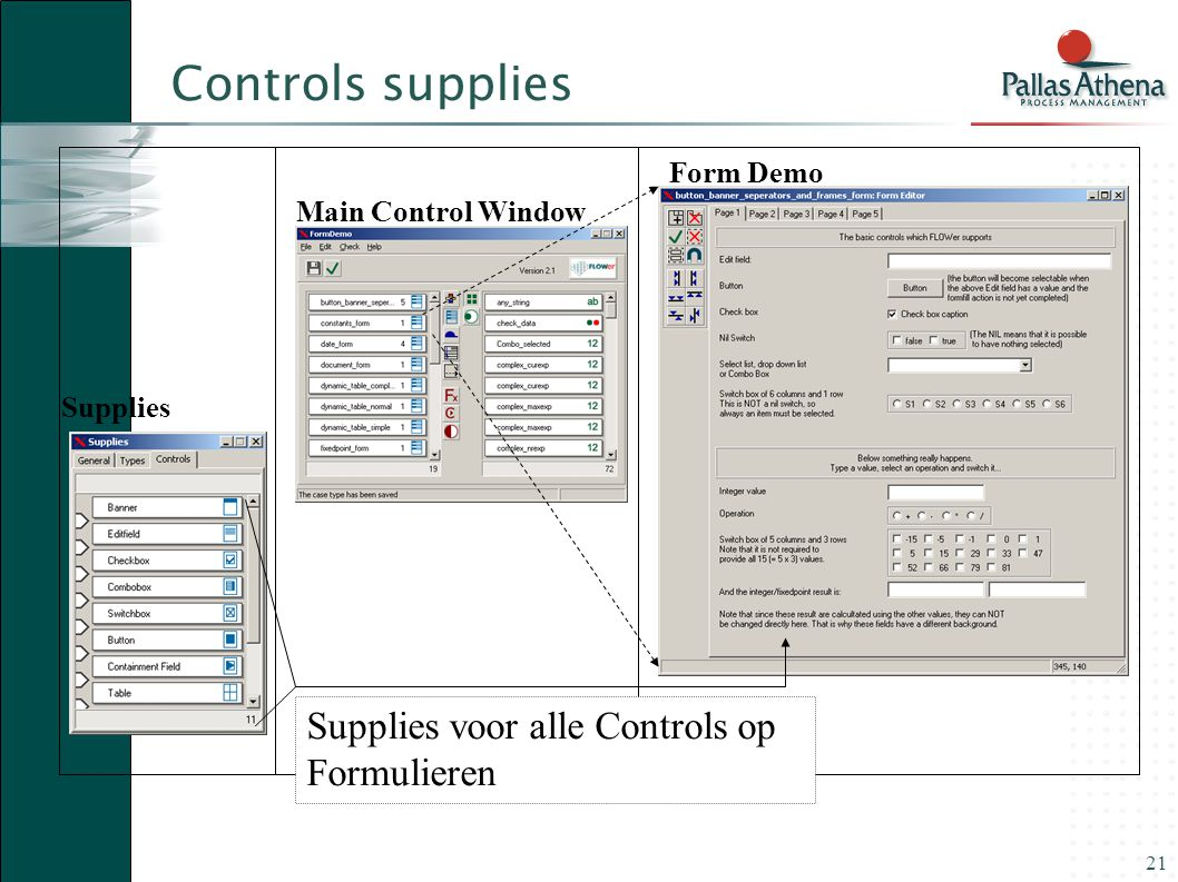 21 Main Control Window Form Form Demo Supplies Supplies voor alle Controls op Formulieren Controls supplies
