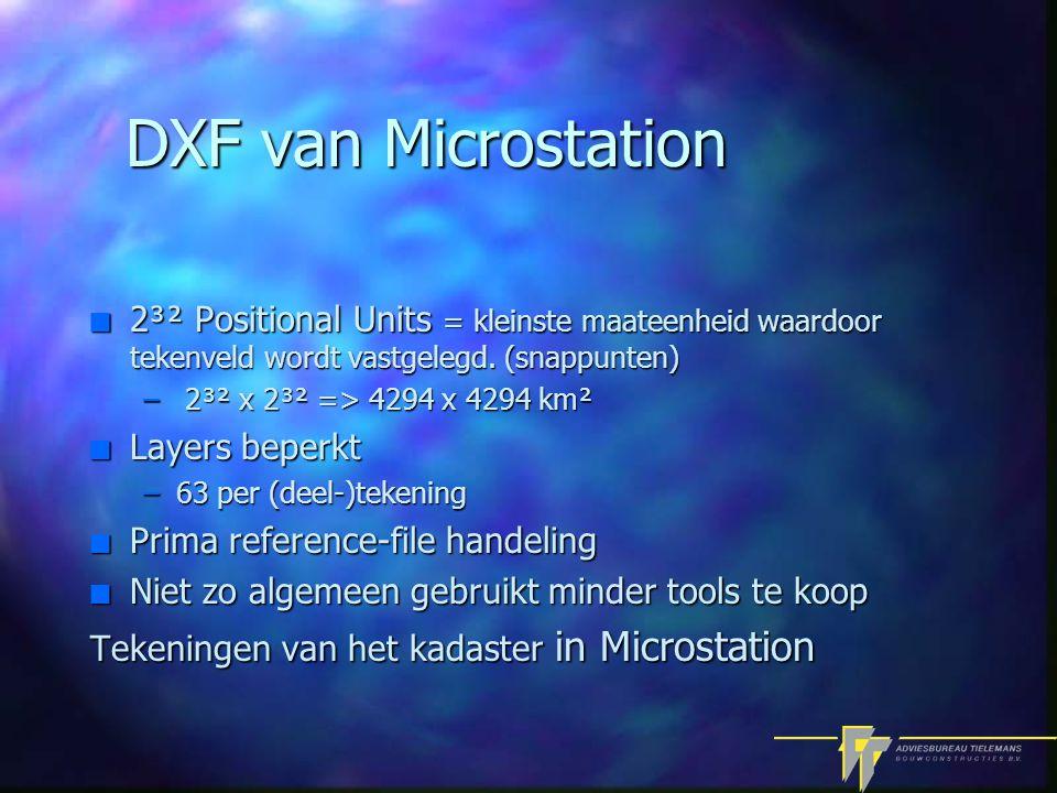 DXF van Microstation n 2³² Positional Units = kleinste maateenheid waardoor tekenveld wordt vastgelegd.