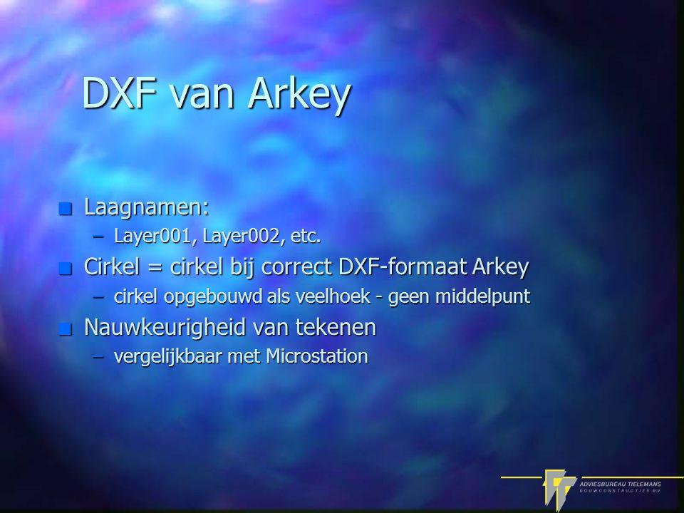 DXF van Arkey n Laagnamen: –Layer001, Layer002, etc.