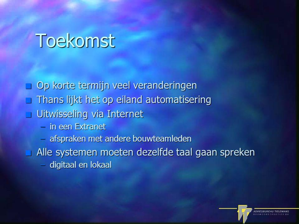 Toekomst n Op korte termijn veel veranderingen n Thans lijkt het op eiland automatisering n Uitwisseling via Internet –in een Extranet –afspraken met andere bouwteamleden n Alle systemen moeten dezelfde taal gaan spreken –digitaal en lokaal