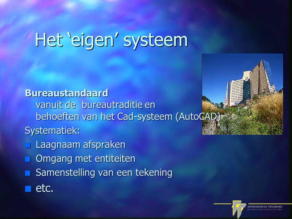 Het 'eigen' systeem Bureaustandaard vanuit de bureautraditie en behoeften van het Cad-systeem (AutoCAD) Systematiek: n Laagnaam afspraken n Omgang met entiteiten n Samenstelling van een tekening n etc.