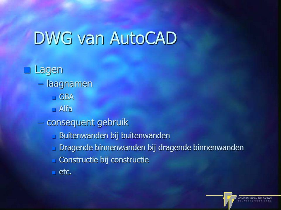 DWG van AutoCAD n Lagen –laagnamen n GBA n Alfa –consequent gebruik n Buitenwanden bij buitenwanden n Dragende binnenwanden bij dragende binnenwanden n Constructie bij constructie n etc.