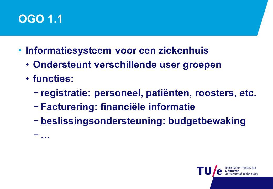 OGO 1.1 Informatiesysteem voor een ziekenhuis Ondersteunt verschillende user groepen functies: −registratie: personeel, patiënten, roosters, etc. −Fac