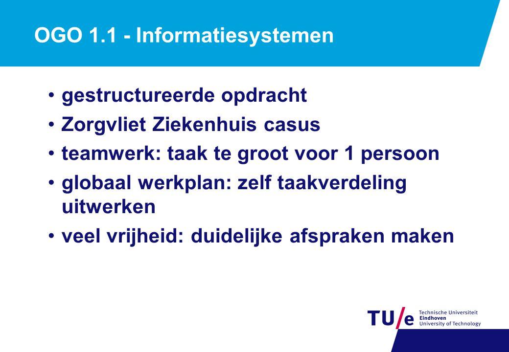 OGO 1.1 - Informatiesystemen gestructureerde opdracht Zorgvliet Ziekenhuis casus teamwerk: taak te groot voor 1 persoon globaal werkplan: zelf taakver