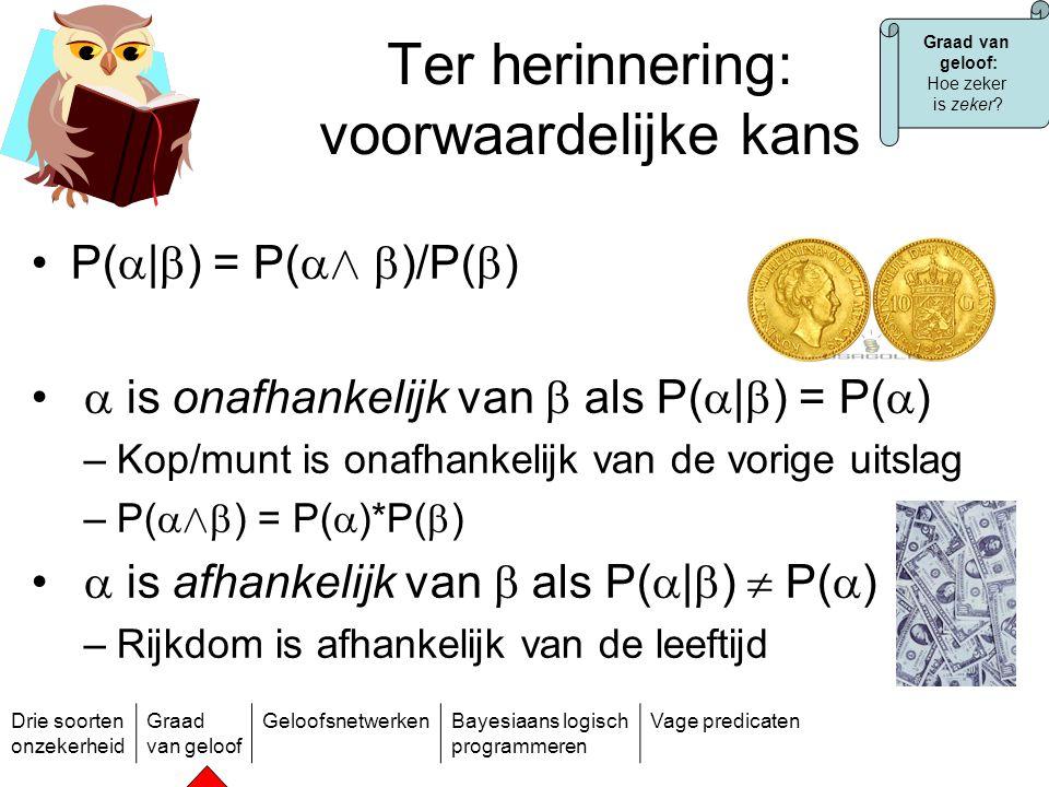 Drie soorten onzekerheid Graad van geloof GeloofsnetwerkenBayesiaans logisch programmeren Vage predicaten Probleem  is afhankelijk van n basisvariabelen die van mekaar afhankelijk zijn:  1, …,  n Dus als  over {a 1,…, a k } en  over {b 1,…, b m } voor alle i: –P(  a i |  1 = b i 1 Æ … Æ  n = b i n ) k*n m voorwaardelijke kansen.