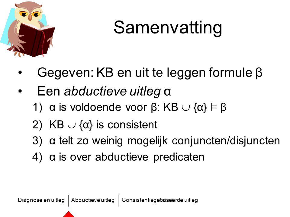 Diagnose en uitlegAbductieve uitlegConsistentiegebaseerde uitleg Samenvatting Gegeven: KB en uit te leggen formule β Een abductieve uitleg α 1)α is vo