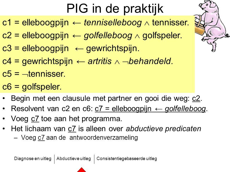 Diagnose en uitlegAbductieve uitlegConsistentiegebaseerde uitleg PIG in de praktijk Begin met een clausule met partner en gooi die weg: c2. Resolvent
