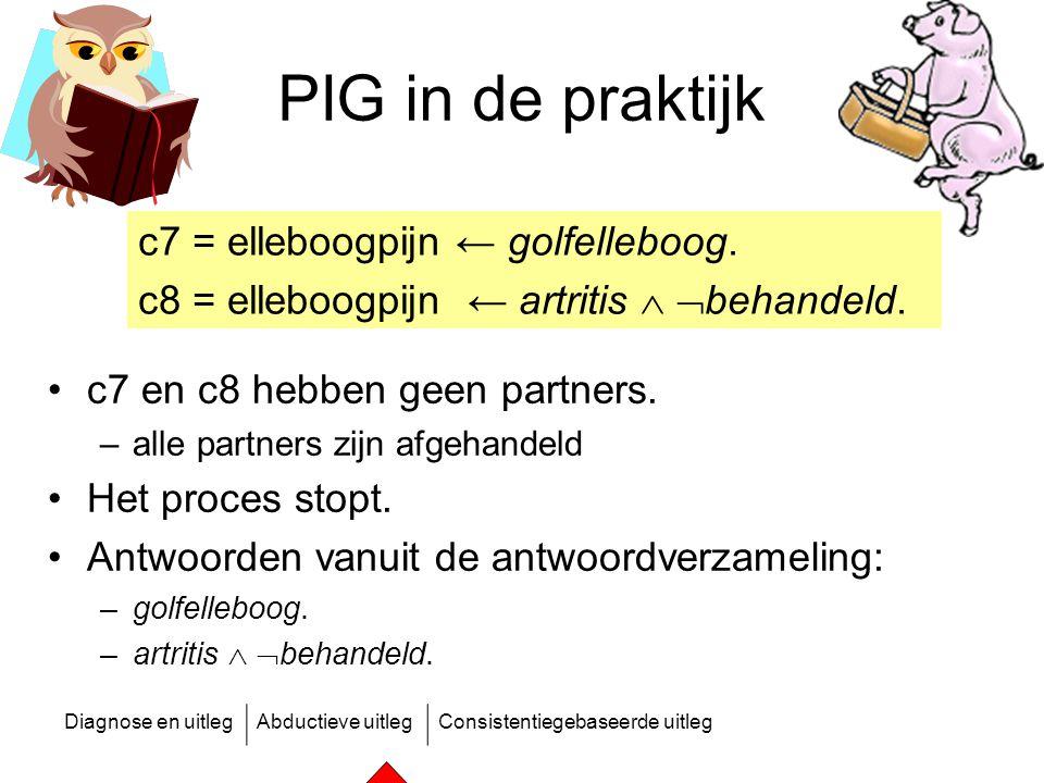 Diagnose en uitlegAbductieve uitlegConsistentiegebaseerde uitleg PIG in de praktijk c7 en c8 hebben geen partners. –alle partners zijn afgehandeld Het