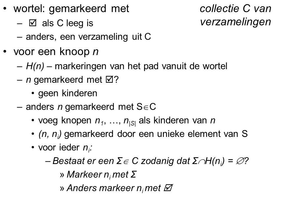 Diagnose en uitlegAbductieve uitlegConsistentiegebaseerde uitleg wortel: gemarkeerd met –  als C leeg is –anders, een verzameling uit C voor een knoo
