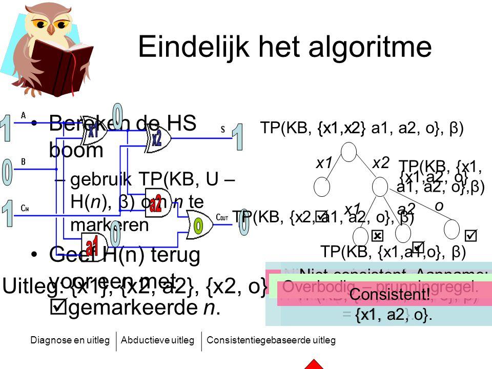 Diagnose en uitlegAbductieve uitlegConsistentiegebaseerde uitleg Eindelijk het algoritme Bereken de HS boom –gebruik TP(KB, U – H(n), β) om n te marke