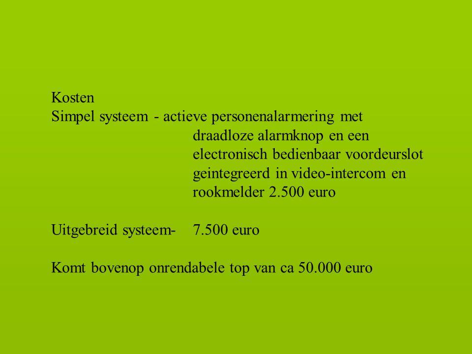 Kosten Simpel systeem - actieve personenalarmering met draadloze alarmknop en een electronisch bedienbaar voordeurslot geintegreerd in video-intercom en rookmelder 2.500 euro Uitgebreid systeem-7.500 euro Komt bovenop onrendabele top van ca 50.000 euro