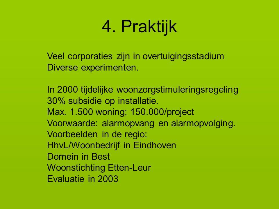 4.Praktijk Veel corporaties zijn in overtuigingsstadium Diverse experimenten.