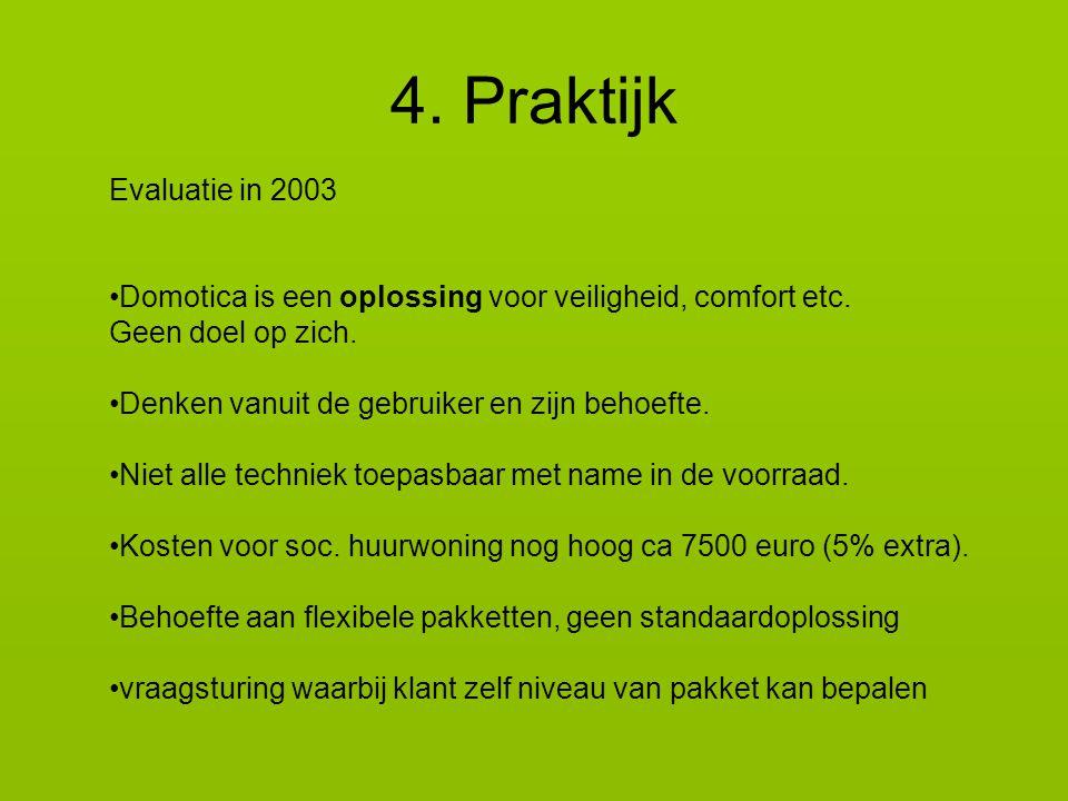Evaluatie in 2003 Domotica is een oplossing voor veiligheid, comfort etc.