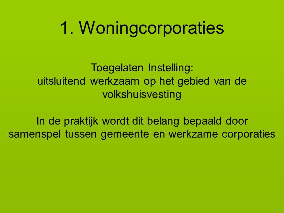 1. Woningcorporaties Toegelaten Instelling: uitsluitend werkzaam op het gebied van de volkshuisvesting In de praktijk wordt dit belang bepaald door sa