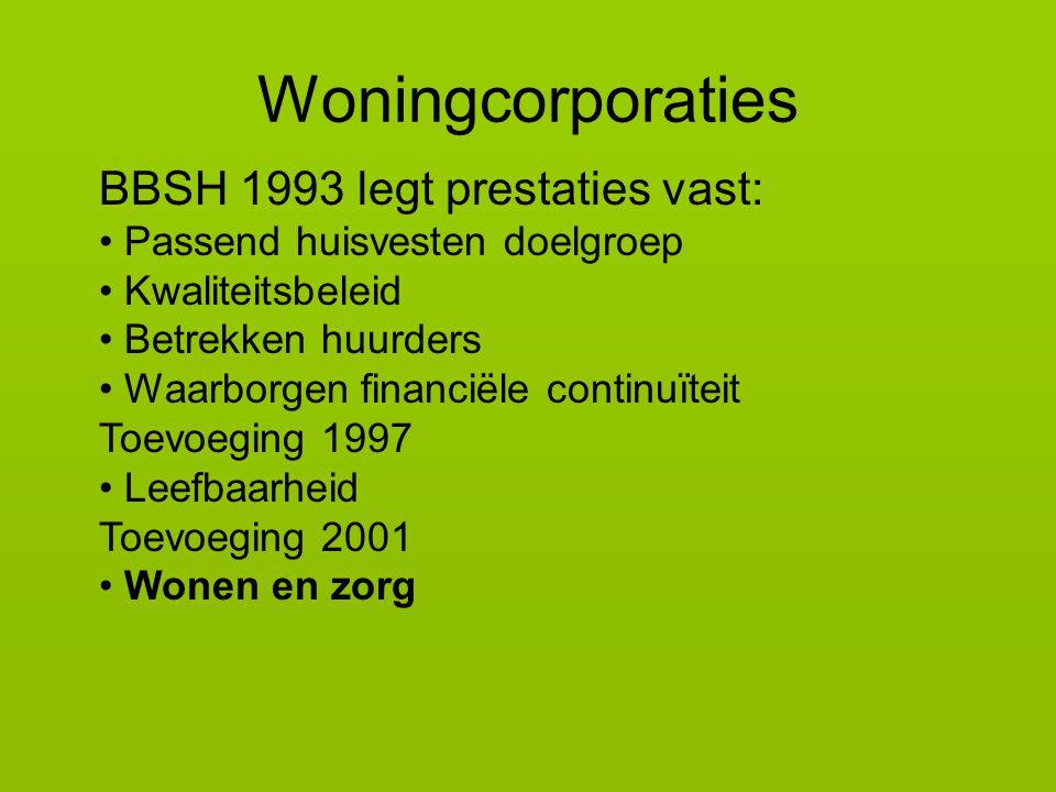 BBSH 1993 legt prestaties vast: Passend huisvesten doelgroep Kwaliteitsbeleid Betrekken huurders Waarborgen financiële continuïteit Toevoeging 1997 Leefbaarheid Toevoeging 2001 Wonen en zorg Woningcorporaties