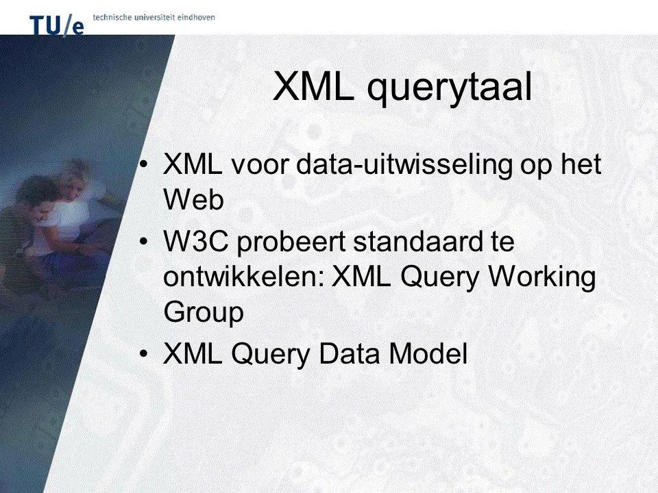 XML querytaal XML voor data-uitwisseling op het Web W3C probeert standaard te ontwikkelen: XML Query Working Group XML Query Data Model