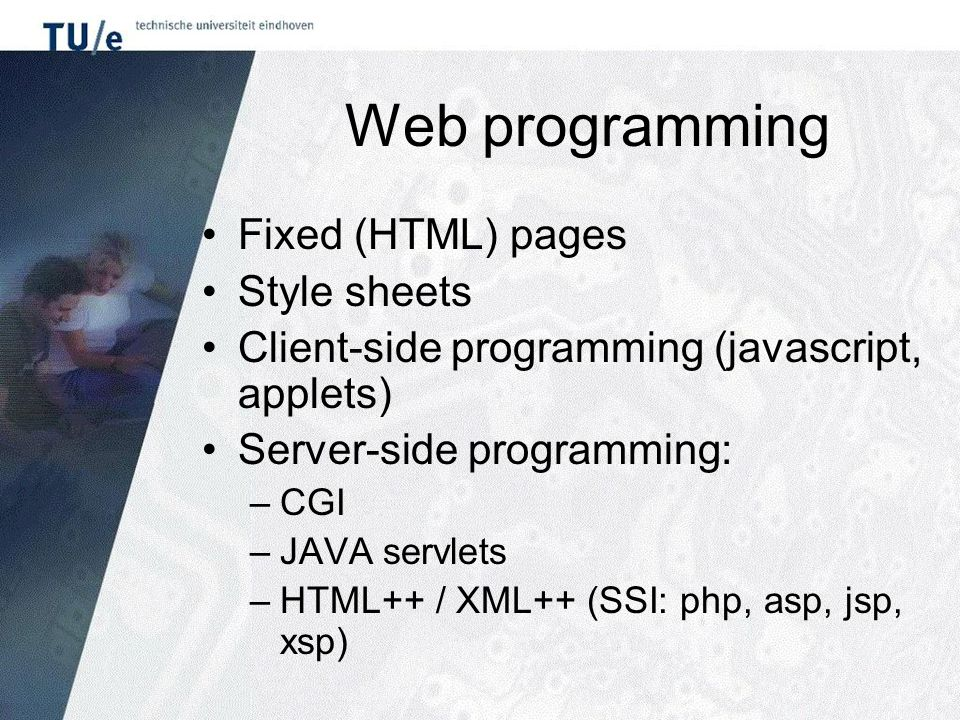Web programming Fixed (HTML) pages Style sheets Client-side programming (javascript, applets) Server-side programming: –CGI –JAVA servlets –HTML++ / X