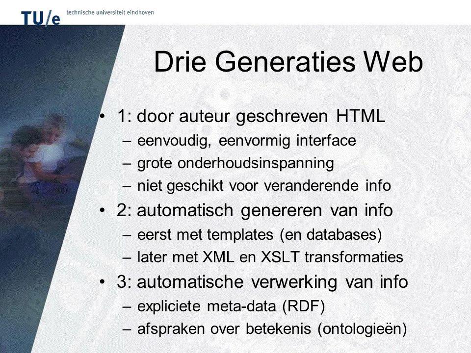 Drie Generaties Web 1: door auteur geschreven HTML –eenvoudig, eenvormig interface –grote onderhoudsinspanning –niet geschikt voor veranderende info 2: automatisch genereren van info –eerst met templates (en databases) –later met XML en XSLT transformaties 3: automatische verwerking van info –expliciete meta-data (RDF) –afspraken over betekenis (ontologieën)