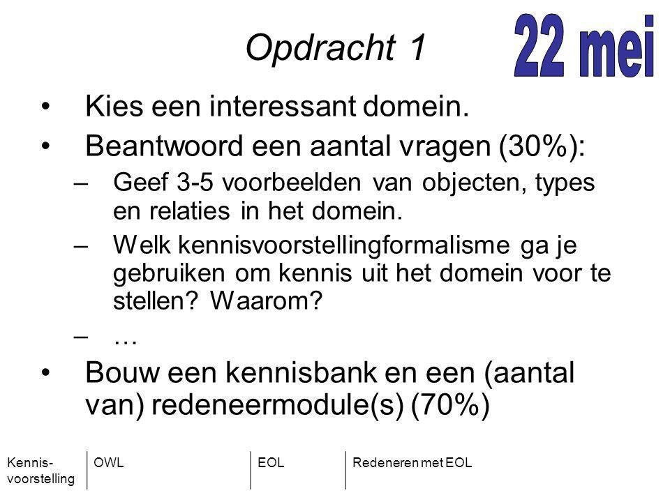 Kennis- voorstelling OWLEOLRedeneren met EOL Opdracht 1 Kies een interessant domein.