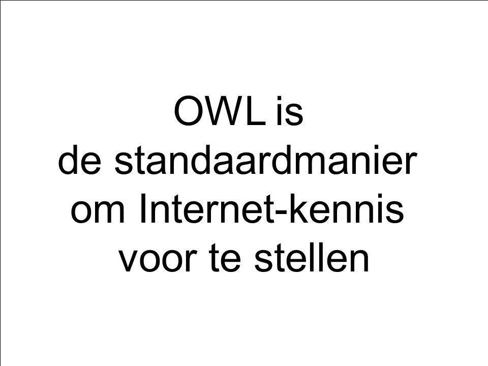 Kennis- voorstelling OWLEOLRedeneren met EOL OWL is de standaardmanier om Internet-kennis voor te stellen