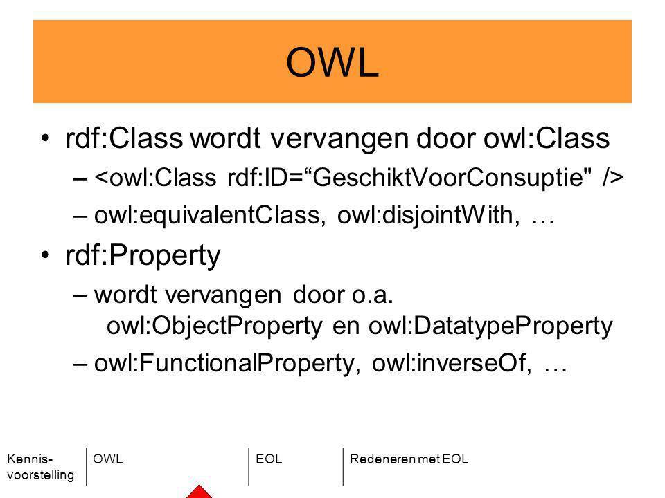 Kennis- voorstelling OWLEOLRedeneren met EOL rdf:Class wordt vervangen door owl:Class – –owl:equivalentClass, owl:disjointWith, … rdf:Property –wordt vervangen door o.a.