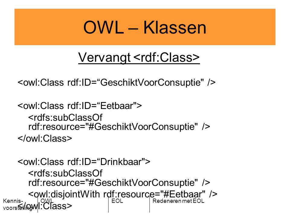 Kennis- voorstelling OWLEOLRedeneren met EOL Vervangt OWL – Klassen