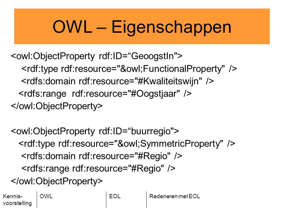 Kennis- voorstelling OWLEOLRedeneren met EOL OWL – Eigenschappen