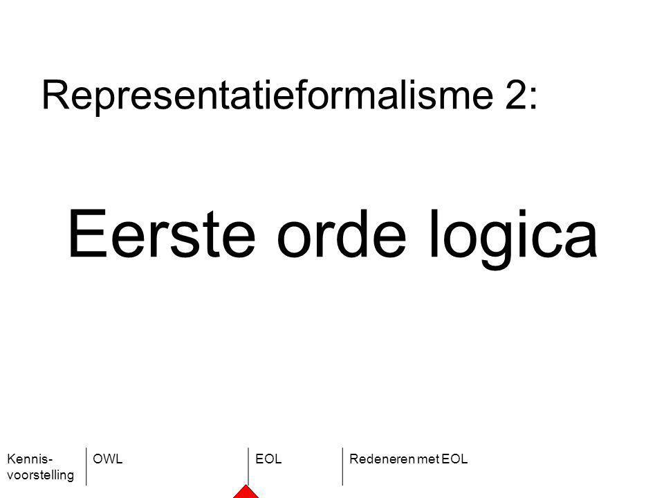 Kennis- voorstelling OWLEOLRedeneren met EOL Representatieformalisme 2: Eerste orde logica