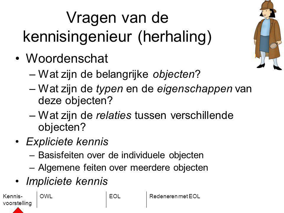 Kennis- voorstelling OWLEOLRedeneren met EOL Vragen van de kennisingenieur (herhaling) Woordenschat –Wat zijn de belangrijke objecten.