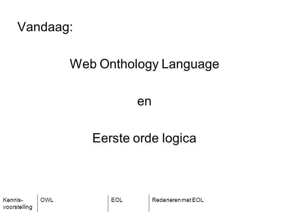 Kennis- voorstelling OWLEOLRedeneren met EOL Vandaag: Web Onthology Language en Eerste orde logica
