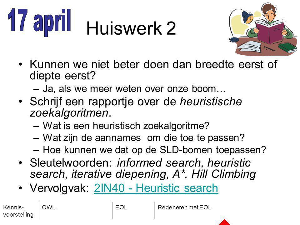 Kennis- voorstelling OWLEOLRedeneren met EOL Huiswerk 2 Kunnen we niet beter doen dan breedte eerst of diepte eerst.