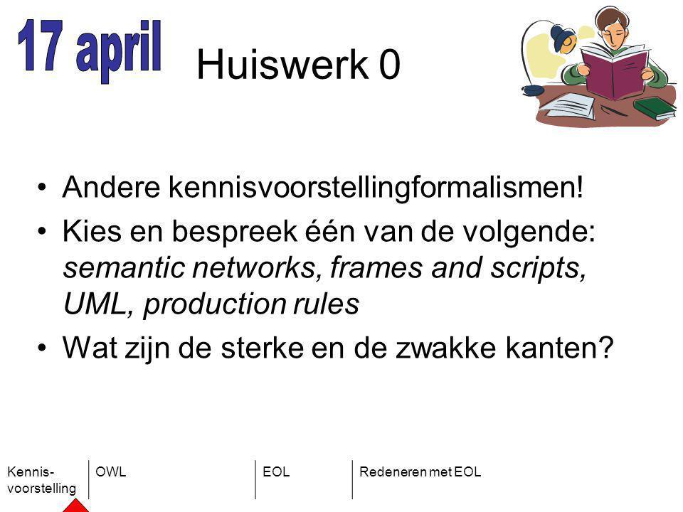 Kennis- voorstelling OWLEOLRedeneren met EOL Huiswerk 0 Andere kennisvoorstellingformalismen.