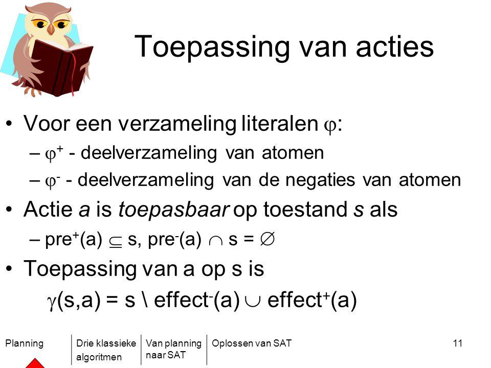 PlanningDrie klassieke algoritmen Van planning naar SAT Oplossen van SAT11 Toepassing van acties Voor een verzameling literalen  : –  + - deelverzam