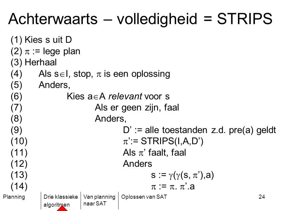 PlanningDrie klassieke algoritmen Van planning naar SAT Oplossen van SAT24 (1) Kies s uit D (2)  := lege plan (3) Herhaal (4)Als s  I, stop,  is ee