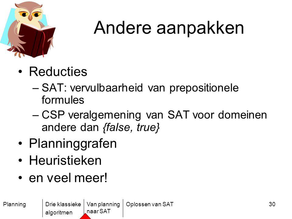PlanningDrie klassieke algoritmen Van planning naar SAT Oplossen van SAT30 Andere aanpakken Reducties –SAT: vervulbaarheid van prepositionele formules