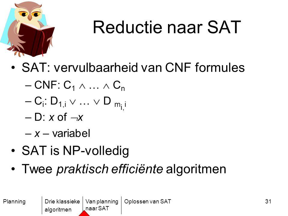 PlanningDrie klassieke algoritmen Van planning naar SAT Oplossen van SAT31 Reductie naar SAT SAT: vervulbaarheid van CNF formules –CNF: C 1  …  C n
