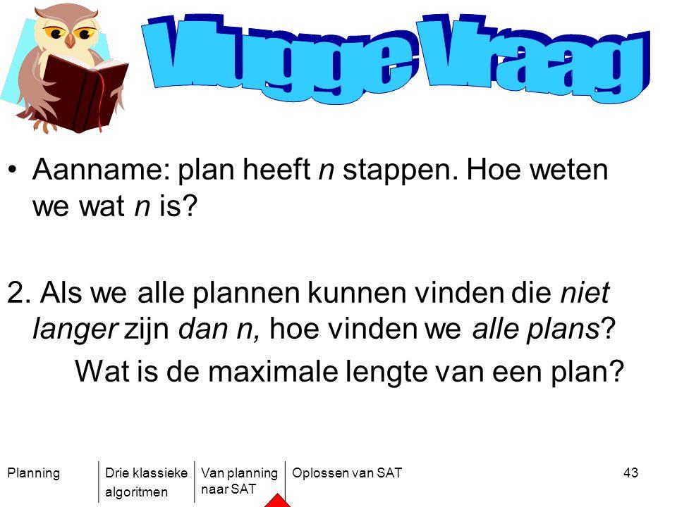 PlanningDrie klassieke algoritmen Van planning naar SAT Oplossen van SAT43 Aanname: plan heeft n stappen. Hoe weten we wat n is? 2. Als we alle planne