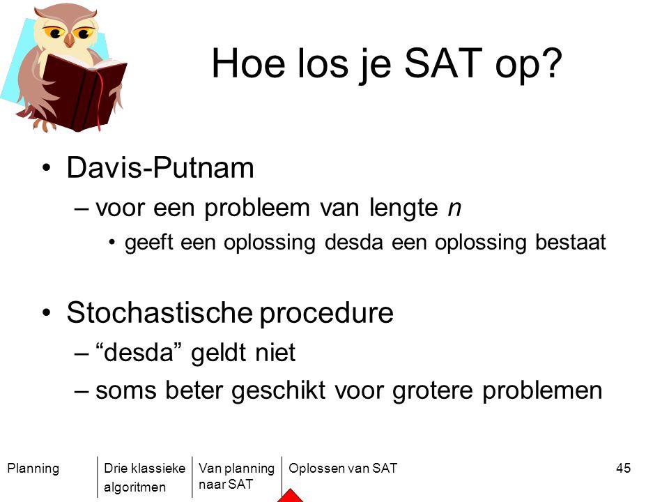 PlanningDrie klassieke algoritmen Van planning naar SAT Oplossen van SAT45 Hoe los je SAT op? Davis-Putnam –voor een probleem van lengte n geeft een o