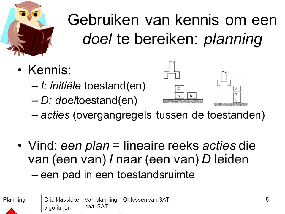 PlanningDrie klassieke algoritmen Van planning naar SAT Oplossen van SAT5 Gebruiken van kennis om een doel te bereiken: planning Kennis: –I: initiële