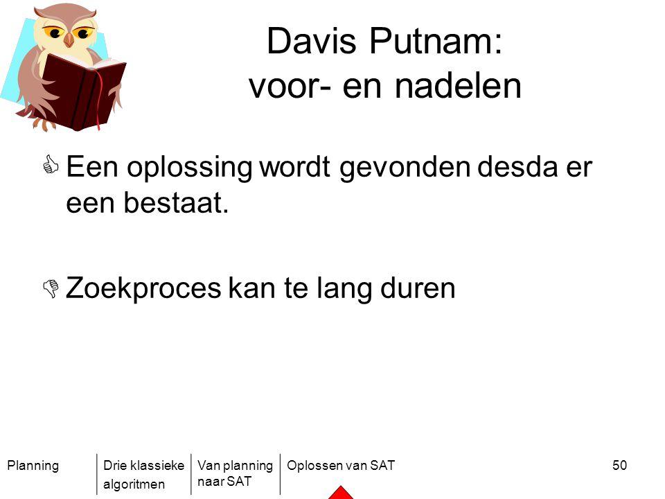 PlanningDrie klassieke algoritmen Van planning naar SAT Oplossen van SAT50 Davis Putnam: voor- en nadelen  Een oplossing wordt gevonden desda er een